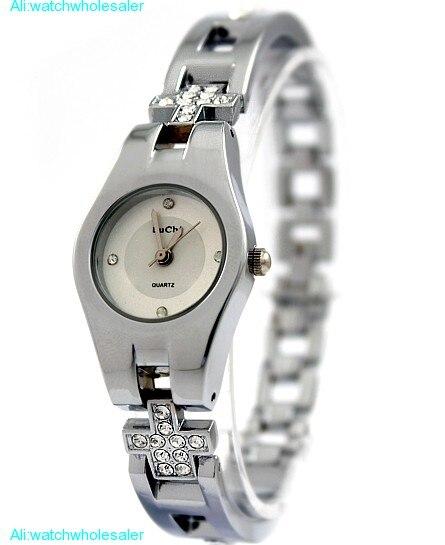 Круглый PNP Блестящий серебряный корпус часов белый циферблат дамы Для женщин часы-браслет fw768a