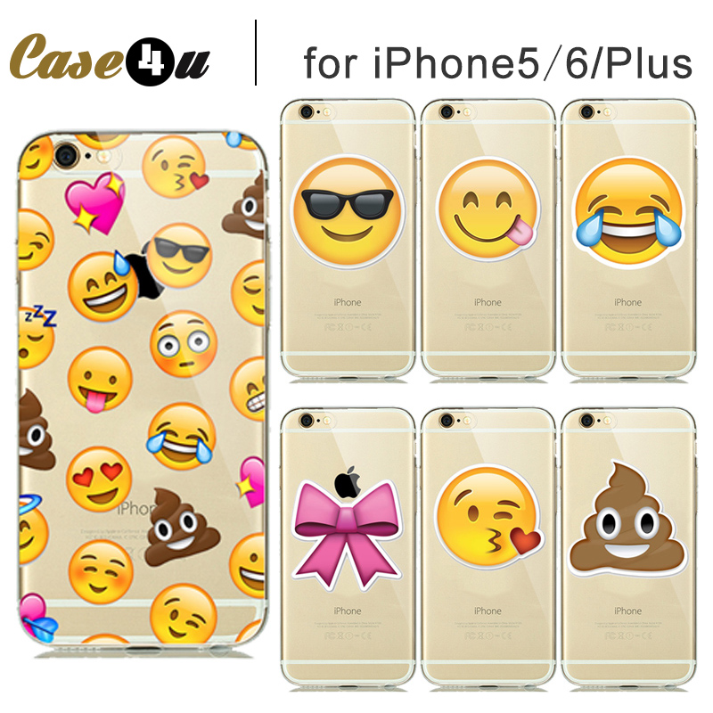 Funny Emoji Case for capinhas iphone 5S 5 6S 6 Plus Silicone Clear Rubber TPU Cover Cute Smilely Crying Face Expressions Fundas