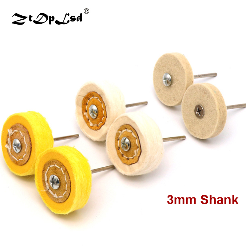 ZtDpLsd 1Pcs 3mm Shank T Style Buffing Wheel Grinding Head Polishing Cloth Brush For Dremel Rotary Abrasive Tools Polish Grinder