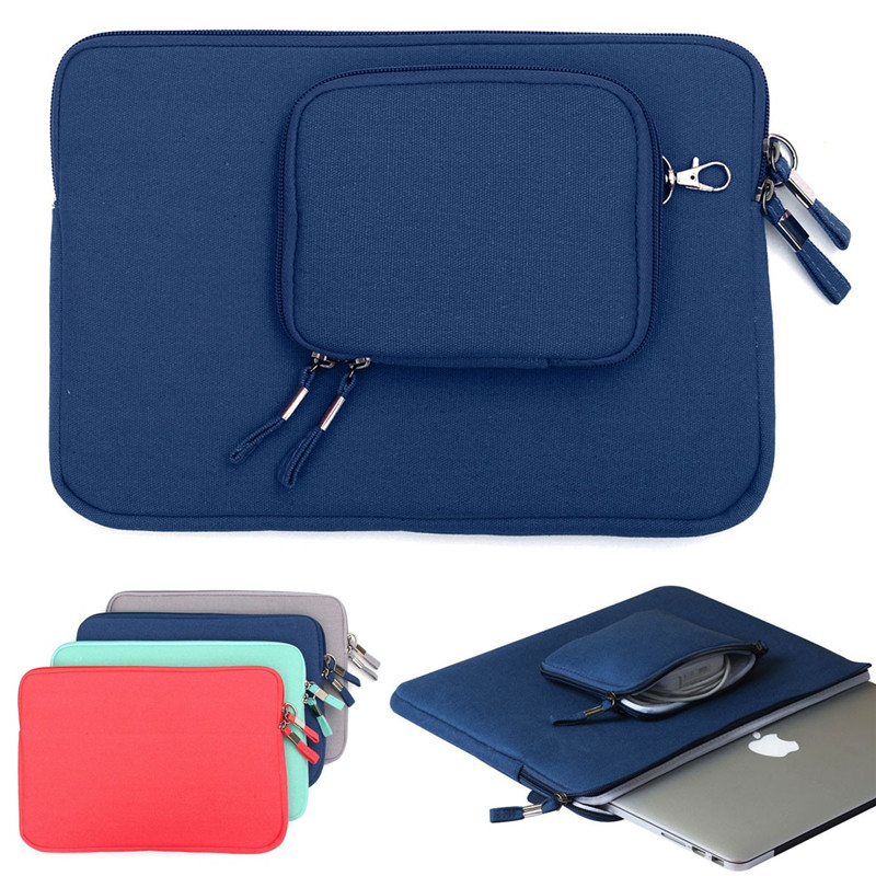 Best Promotion Slim Canvas Briefcase Notebook Laptop Sleeve Case Carry Bag Pouch Cover For MacBook 13'' With Small Bag 4Color