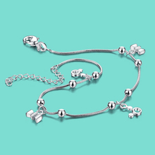 women s 925 sterling silver anklets lovely Bowknot pendant Ms solid silver chains 28cm Popular silver