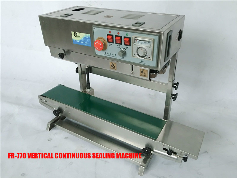 FR 770 Vertical Automatic Heat Plastic Bag Foil Bag Band Sealer Machine Sealing liquid and solid