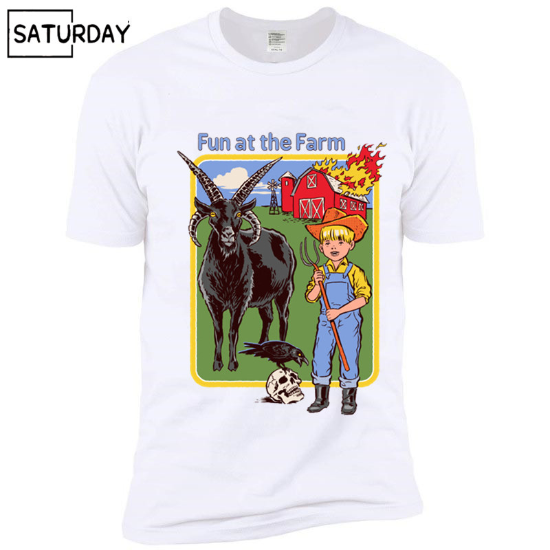 Men's Fun At The Farm Funny Design   T     Shirt   Demon Death Scary Evil Hip Hop Satanism Grim Reaper   T  -  shirt   Supernatura Women Tshirt