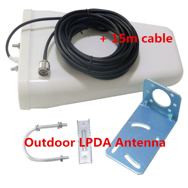 Outdoor Antenna 800-2500mhz Frequency 3G GSM CDMA Outside Directional LPDA Antenna For Signal Booster Repeater With 15m Cable