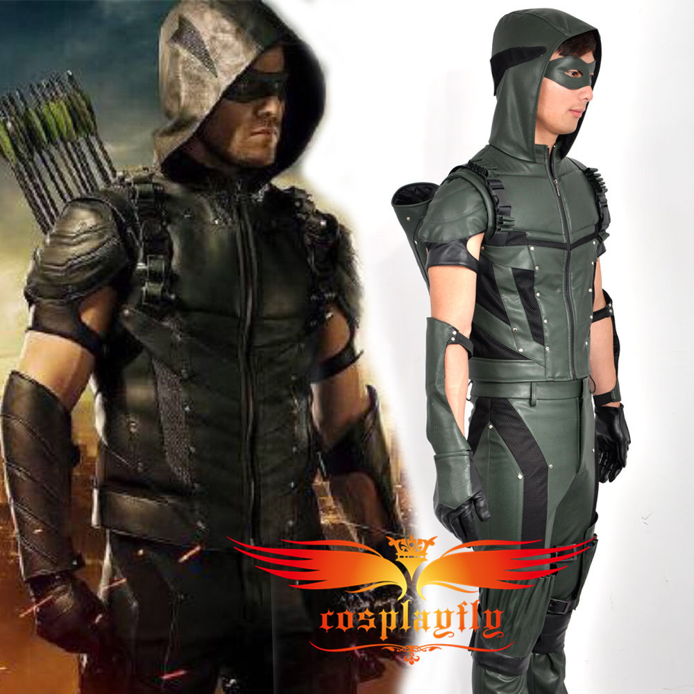 2015 Green Arrow Season 4 Oliver Queen Battleframe Cosplay Custom Costume  Outfit Clothing For Adult