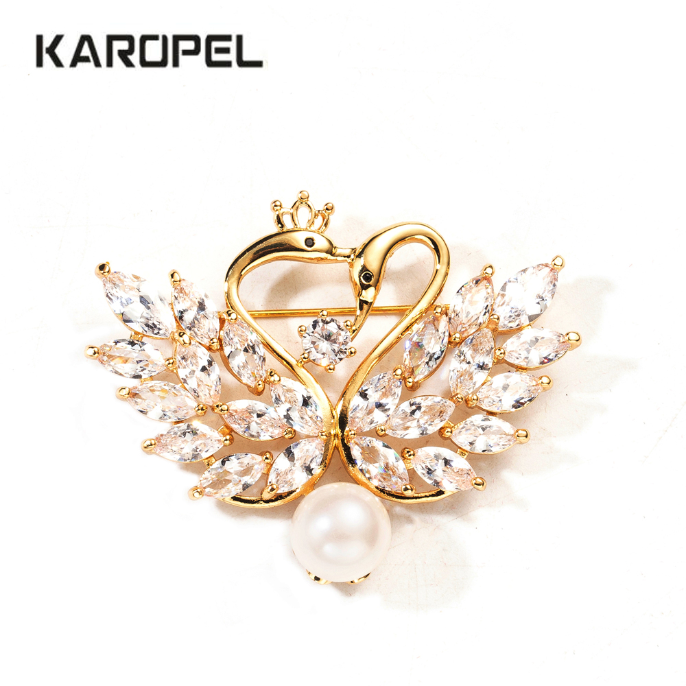 Cute Zircon Crystal Swan Brooch Pins Gold Color Lovers Animal CZ  Brooches for Women Wedding Scarf Jewelry Gift Lapel Pin
