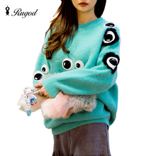 Funny Women Sweaters and Pullovers Autumn Winter Pull Femme Cute Eyes Pink Sweaters for Woman Loose O-Neck Warm Sueter Mujer