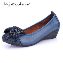 2019 Fashion Women Wedge Shoes Camel Blue Black Genuine Leather Round toe High Heels Pumps Woman Mom Shoes FL722