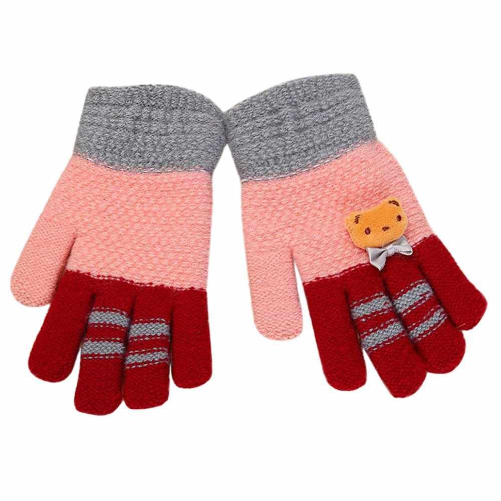 חורף ילדי תינוק חם כפפות קריקטורה דוב ילדים סרוג טלאים להתחמם כפפות כפפות אצבע מלאה כפפות יד ידונית # FS5