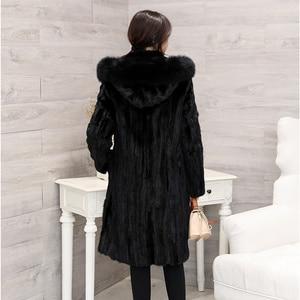 Image 3 - 2018 חדש נשים של חתיכות טבעי אמיתי מינק פרווה מעיל עם קפוצ ון ארוך סגנון מלא שרוול אמיתי פרווה החורף להאריך ימים יותר