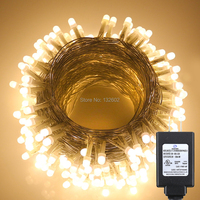 UL Corded 30M 300LED PVC Wire Pearl LED String Lights Christmas Holiday Fairy Lights 8 Mode