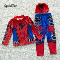New Popular Kids Swimsuit Quality Boys Swimwear Teenagers Two pieces Spider Long Sleeve Infant Bath Suit Children Beachwear