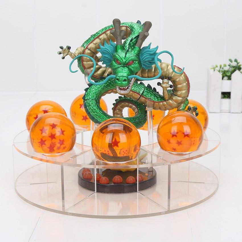 15 cm Dragon Ball Z métal Mega rouge ultime Shenron Dragon + 7 pièces 4 cm Dragon ball cristal boule + étagère PVC figurine jouets