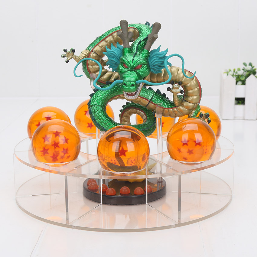 15cm Dragon Ball Z metallic Mega Red ultimate Shenron Dragon + 7Pcs 4cm Dragon ball Crystal ball + Shelf PVC action figure toys колье element47 by jv gnx0403