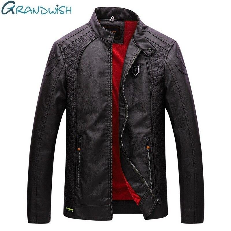 Grandwish Mens Thick Leather Jacket Slim Fit Warm Faux Fur Fleece PU Leather Jacket Men Velvet 2018 Autumn and Winter ,DA666