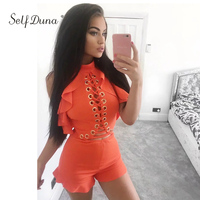 Summer Lace Up Playsuit Romper Women Overalls Hollow Out Sleeveless Blackless Off Shoulder White Sexy Bodycon