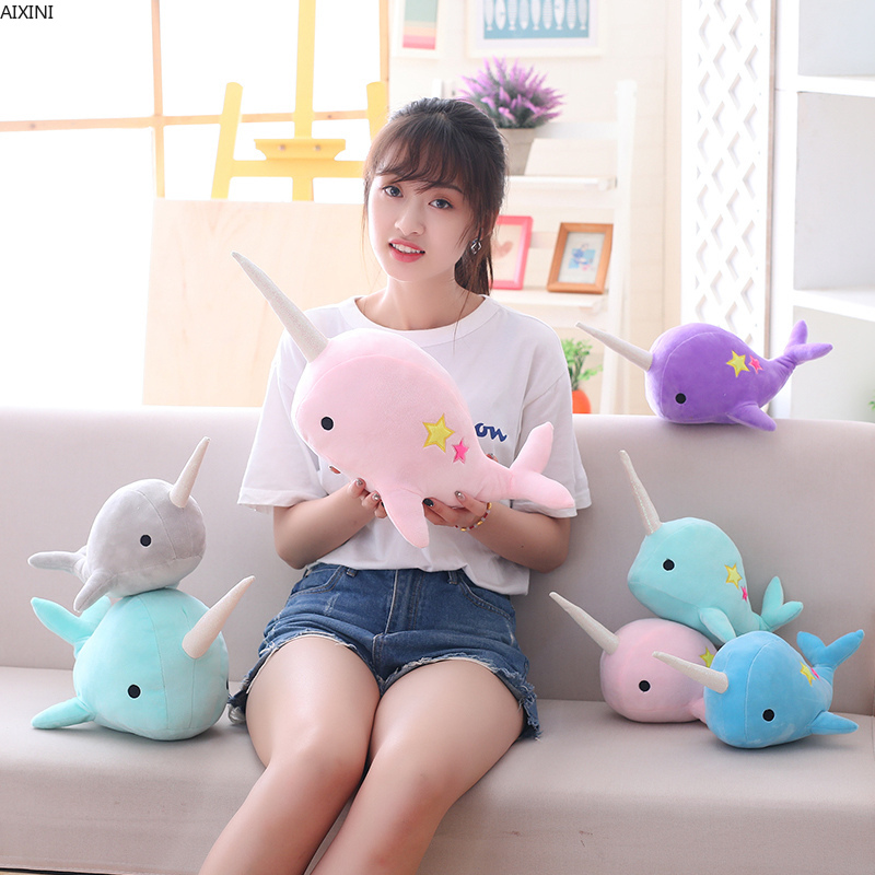 25-35cm Narwhal Whale Binary Star Doll Plush Toy Soft Animal Ocean Sea Stuffed Animals Toys For Children Christmas Gift Kid Gift