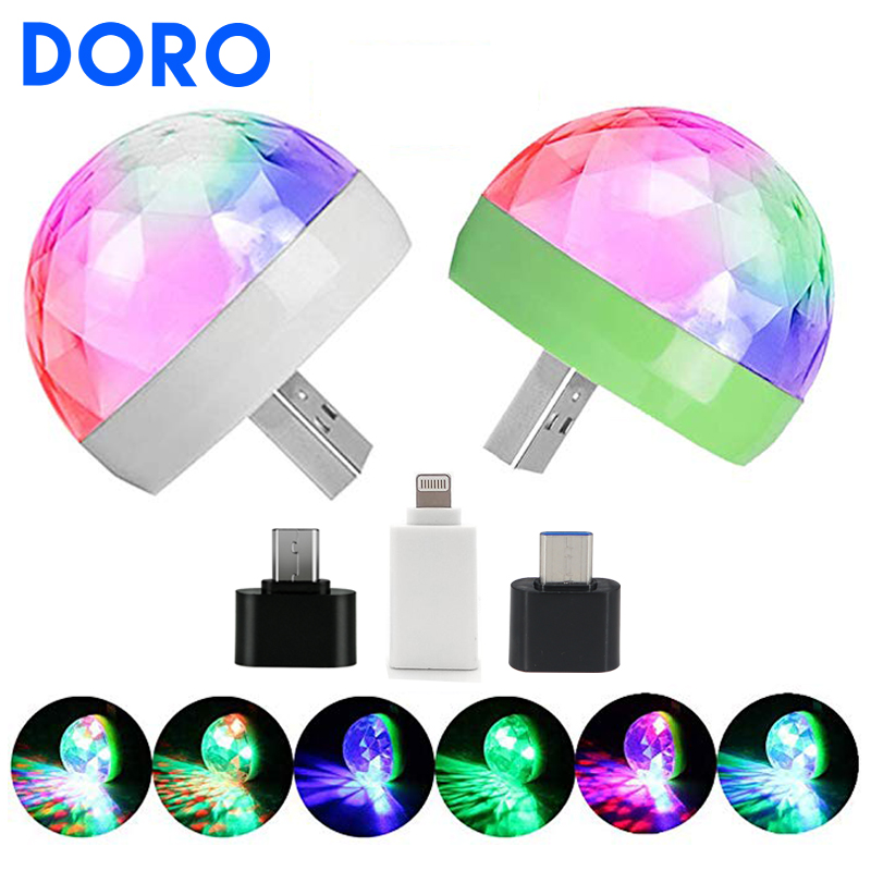 USB DC5V Colorful Stage Light Music Control Car Decoration Atmosphere Lamp Voice Control Ktv Dj Disco Lights  For IPhone Android