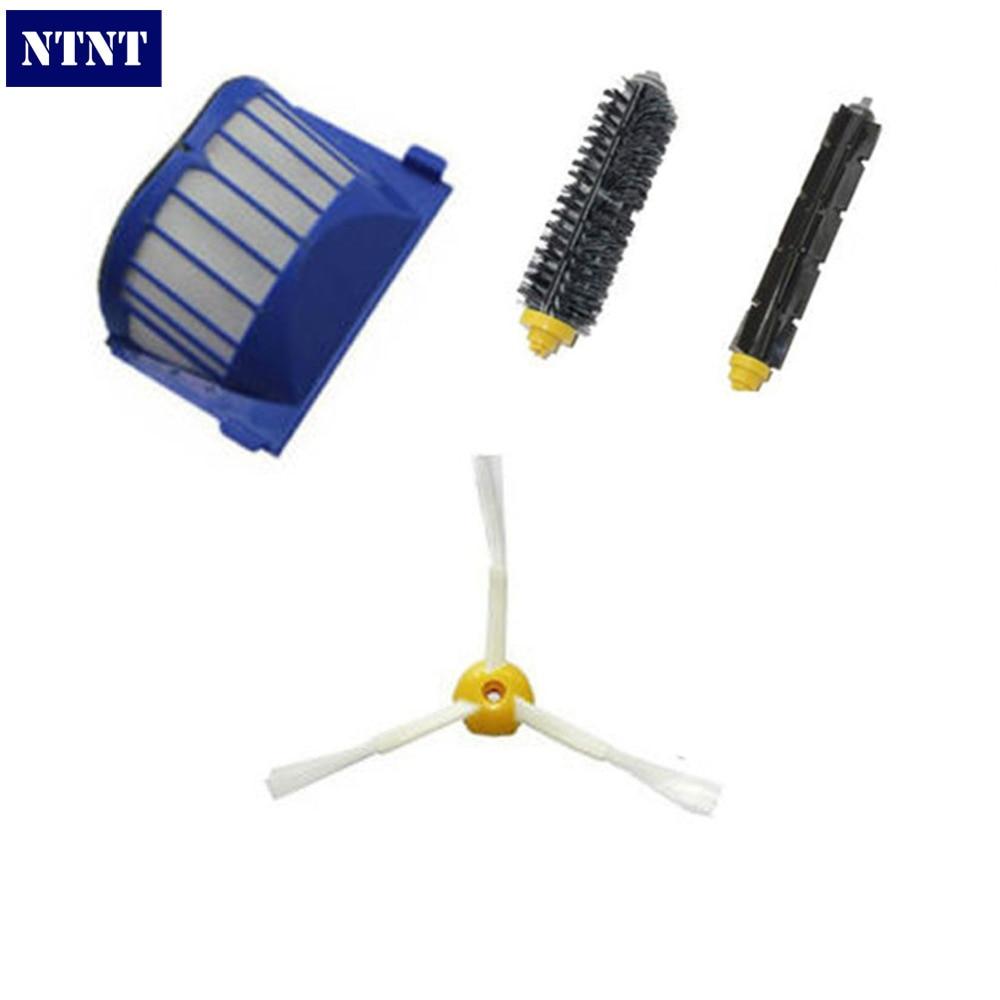 NTNT For iRobot Roomba 600 Series AeroVac Filter + Brush 3 armed kit 620 630 650 660 ntnt replacement brush filter kit for irobot roomba aerovac 600 series 620 630 650 660