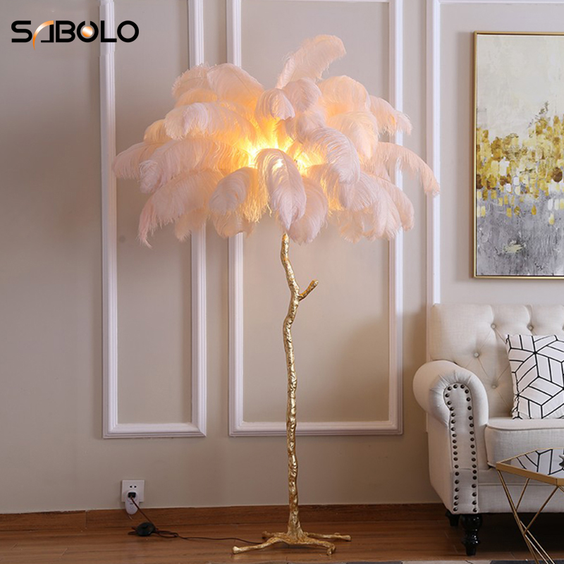 Floor Lamp Modern Luxury Tree Branch Ostrich Feather Floor Lamp High Grade Stand Light Floor Lamps For Living Room Bedroom Lamp Floor Lamps Aliexpress