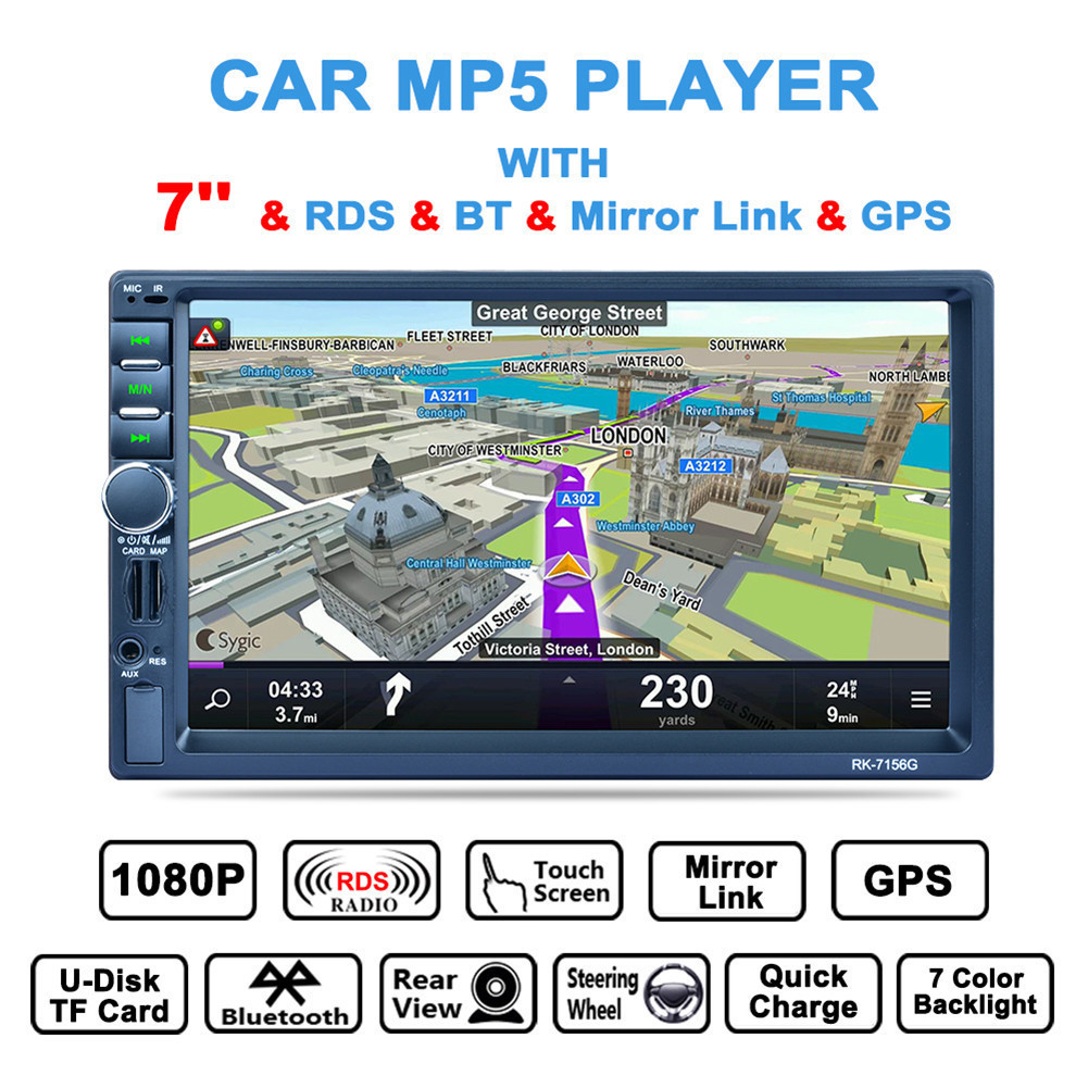 2DIN 7 inch Car Media Payer HD Touch screen Bluetooth GPS Navigation Fast Charge Car Stereo Radio Video player Rear camera 7156G 180 16 9 fast fold front and rear projection screen back