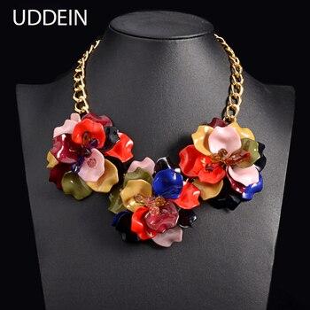 8a38b9eba917 Uddein choker Maxi flor collar mujeres acrílico coloridos declaración  Collier boda joyería del partido collar y colgante