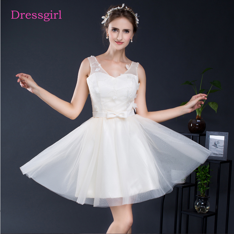 Ivory 2019 Cheap   Bridesmaid     Dresses   Under 50 A-line V-neck Short Mini Tulle Flowers Bow Wedding Party   Dresses