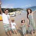 2016 летний пляж ребенок мальчик одежда с коротким рукавом полосатый Семья любителей наборы мать дочь платья