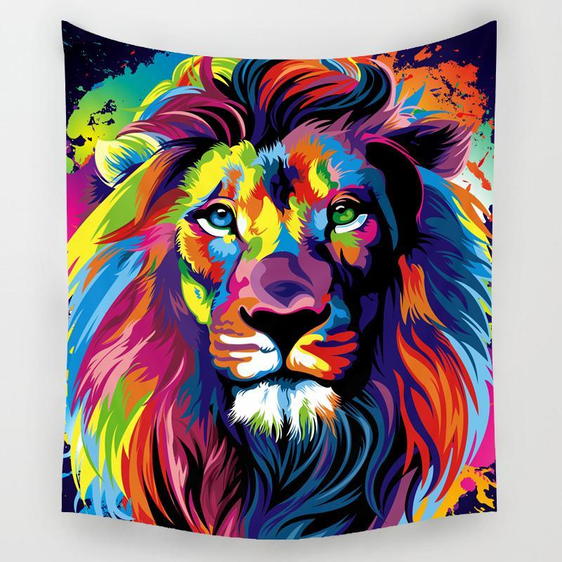 Graphic Lion Tapestry Wall Hanging