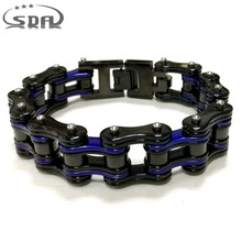 SDA New Design Bike & Bicycle Chain Bracelet Bangles Classic Stainless Steel Men's jewelry Blue Black multiple Styles YM143