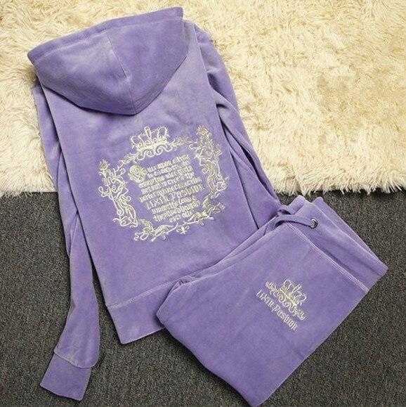 High Quality Velvet Fabric Tracksuits Women Velour Sweatsuit Hoodies Full Sleeve Tops and Sweat Pants Set S-XXXL