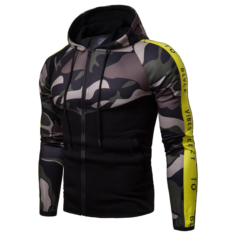 Vestes à glissière pour hommes 2018 meilleure qualité hommes mode Camouflage veste Patchwork décontracté confortable Slim Streetwear hommes vestes