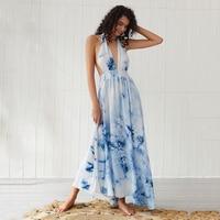 Women Dress Ladies Beach Summer Sleeveless Fashion V Neck Boho Holiday Long Sundress Evening