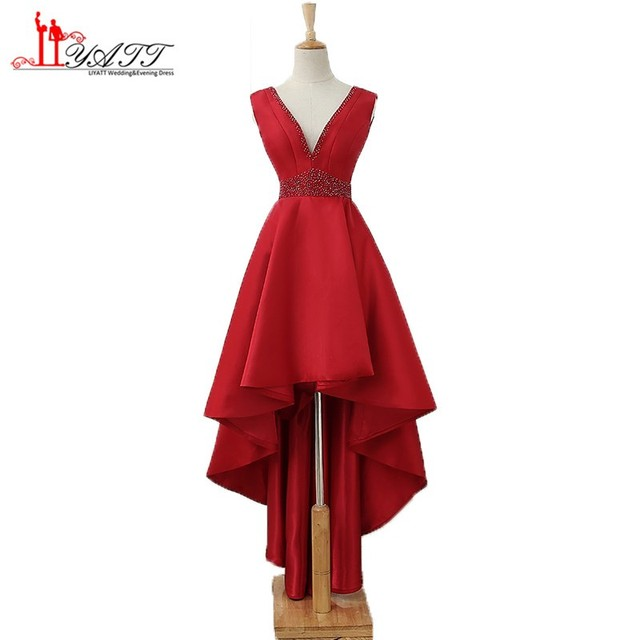 Sexy V Neck Dark Red Prom Dresses Beaded Satin High Front Low Back