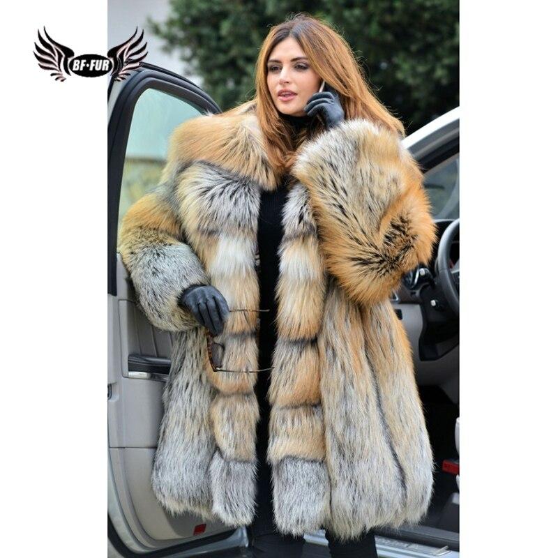 BFFUR Parka Moda Real Natural Red Fox Fur Casacos 2018 Novas Mulheres Jaqueta de Couro Genuíno Completa Pelt Plus Size Inverno palácio Encabeça