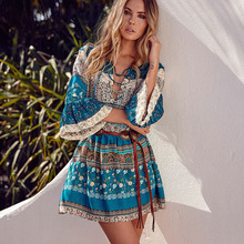 Boho 2017 summer Half Flare Sleeve dresses floral print V neck mini casual dress women Bohemian