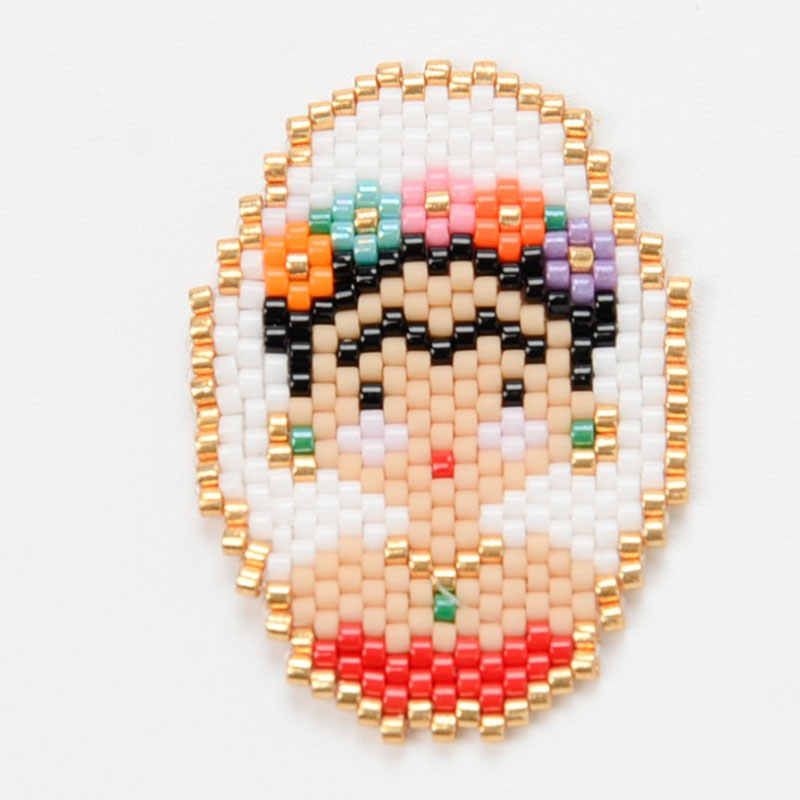 1pc New Europe Brooch Frida knit Lapel Pin Mexican Artist Woman Face Shape Beautiful Fashion Brooch Women Clothing Jewelry Gift
