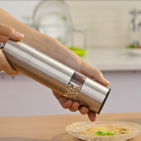 Stainless Steel Electric Pepper Mill Spice Salt And Pepper Grinder Muller With Ligh Bulb Cooking Tools