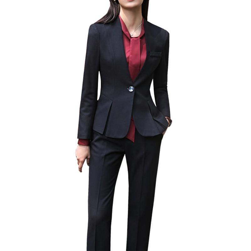 2019 Pants Femmes Suits De Work Bureau Costumes Taille Grande Pantalon Blazer Pour grey Pantalons Slim Longues black Suits Nouveaux Suits Manches Avec Grey À Formelles Skirt Dames Wear Ensemble qrZnwfEqBx