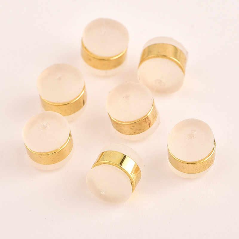 10pcs 925 כסף מצופה זהב סיליקה ג 'ל עגיל בחזרה אגוזי הודעה אוזן מגופות ממצאי תכשיטי רכיבי DIY חלקי אוזן חיבור