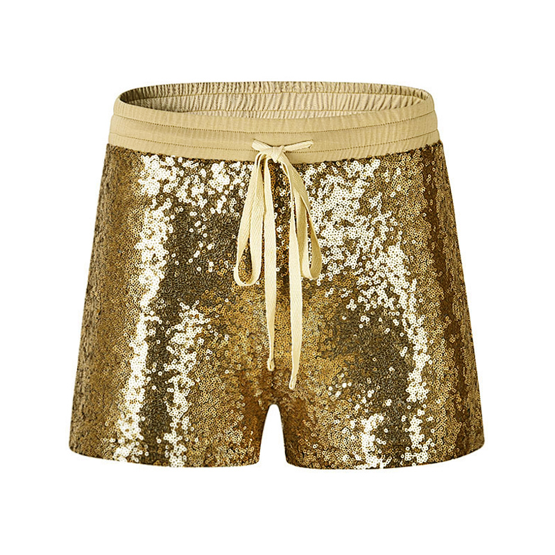Fashion Women Sequins Short Drawstring Elastic Waist Pockets Sexy Slim Sparkling Summer Hot Shorts 2019 Sexy Female Bottoms