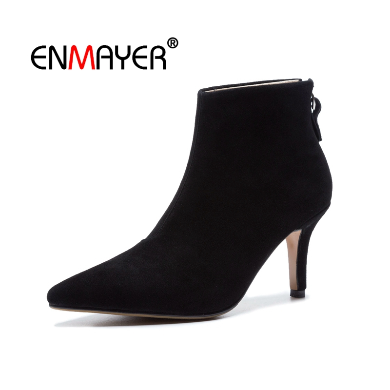 ENMAYER Women Ankle boots Pointed Toe High heels Short boots Autumn Winter boots Cow Suede footwear shoes Thick heels CR1623 enmayer high heels pointed toe spring