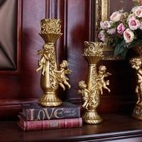 Avrupa retro melek şamdan ev dekorasyon reçine mumluk oturma odası sundurma dekorasyon el sanatları düğün şamdan|Mumluklar|   -