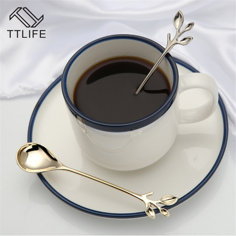 TTLIFE 1pc Creative Branch Style Coffee Scoop Ice Cream Spoon Delicate Teaspoon Dinnerware Flatware Kitchen Tool