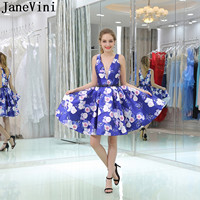 JaneVini A Line Short Homecoming Ddresses 2019 Blue Beaded Floral Graduation Dresses V Neck Formal Gown robe sexy bleu marine