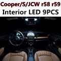 9 pcs X frete grátis Livre de Erros LED Interior Luz Kit Pacote para MINI Cooper JCW r58 r59 S acessórios 2012 +