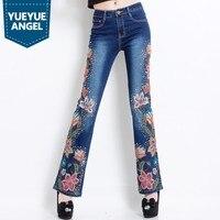 Высокое качество Женские народные Цветочные Вышивка узкие брюки длинные широкие джинсовые брюки тонкие Бисероплетение OL сексуальные пуш а