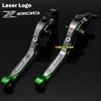 Laser Logo(Z800) Orange+Titanium Motorcycle CNC Extendable Brake Clutch Levers For kawasaki Z800/E version 2013 2014 2015 2016