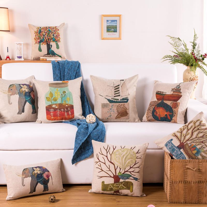 Cushion Cover Animals Print Elephant Birds In Love Boat Square Sofa Car Decor Throw Pillow Cover Home Decorative Pillowcases 18