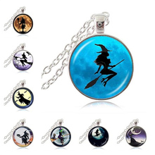 Sexy Witch with Broom Necklace Full Moon Pendant Wiccan Pagan Jewelry Glass Cabochon Sweater Chain Necklace Cat Jewellery HZ1